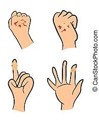 jogo, de, ferido, dedo, mão, embrulhado, em, bandage...
