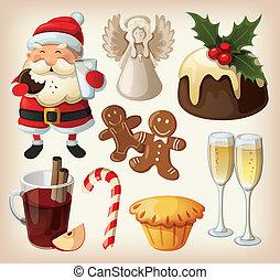 jogo, de, festivo, alimento, e, decorações