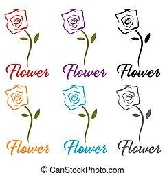jogo, de, flores