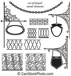 jogo, de, forjado, metal, elementos