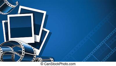 jogo, de, foto, e, vídeo, película, quadro