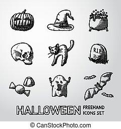 jogo, de, freehand, dia das bruxas, ícones, -pumpkin, chapéu bruxa, cauldron, cranio, gato, sepultura, doce, fantasma, bats., vetorial
