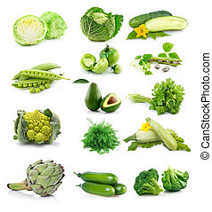 jogo, de, fresco, legumes verdes, isolado, branco
