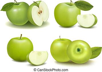 jogo, de, fresco, maçãs verdes, com, verde, leafs., vector.