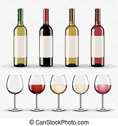 jogo, de, garrafas vinho, e, óculos