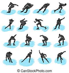 jogo, de, gelo-patinar, atleta, grunge, silhuetas