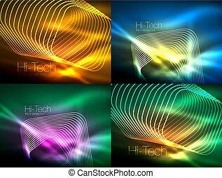 jogo, de, glowing, fluir, onda, néon, fundos, energia, conceito, onda, linhas
