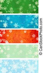 jogo, de, grunge, natal, bandeiras, com, snowflakes