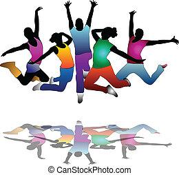 jogo, de, grupo, povos, dança, ., voador