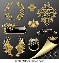 jogo, de, heraldic, elementos