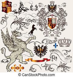 jogo, de, heraldic, projete elementos