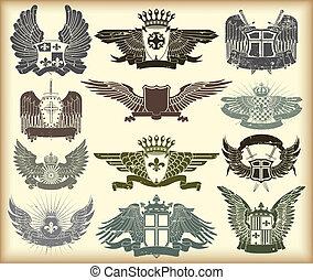 jogo, de, heraldic, vindima, selos