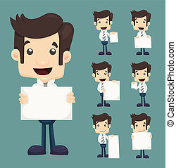 jogo, de, homem negócios, segurando, em branco, notas, caráteres, poses