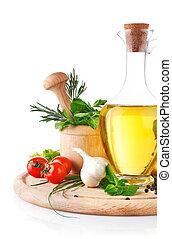 jogo, de, ingredientes, e, tempero, para, alimento, cozinhar