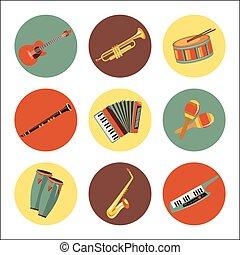 jogo, de, instrumentos música, icons., apartamento, estilo, design.