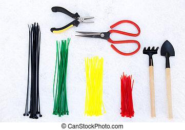 jogo, de, jardinagem, cuidado, equipamento, branco