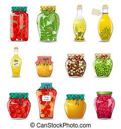 jogo, de, jarros copo, com, legumes preservados, cogumelos, fruta, e, mel, para, seu, desenho