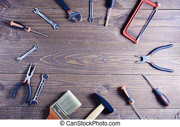 jogo, de, lar, tools., cópia, space.