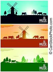 jogo, de, leite, banners., leite, natural, product., paisagem rural, com, moinho, e, cows., alvorada, em, a, village., sunrise.