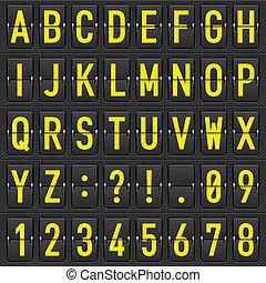 jogo, de, letras, ligado, um, mecânico, horário