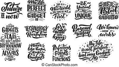jogo, de, lettering, compositions, para, posters., motivational, citação, aproximadamente, dispositivos, e, technology., mão, desenhado, vetorial, illustration.