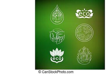 jogo, de, logotipos, natureza, protection.