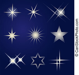 jogo, de, luminoso, estrelas
