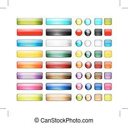 jogo, de, lustroso, botão, ícones, para, seu, desenho