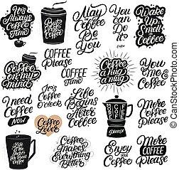 jogo, de, mão, desenhado, lettering, café, quotes.