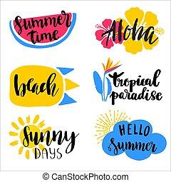 jogo, de, mão, desenhado, verão, tema, phrases., modernos, lettering, quotes.