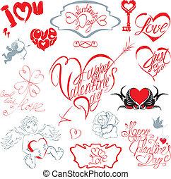 jogo, de, mão escrita, text:, feliz, dia valentineçs, amo, apenas, por si, etc., em, coração, forma., calligraphic, elementos, para, feriados, ou, casório, desenho, em, vindima, style.