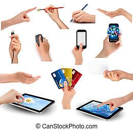 jogo, de, mãos, segurando, objetos