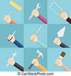 jogo, de, mãos, segurando, tools.