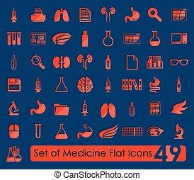 jogo, de, médico, apartamento, ícones