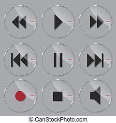 jogo, de, mídia, vidro, ícones, vetorial, ilustração