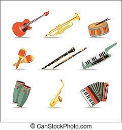 jogo, de, música, instruments., apartamento, estilo, design.