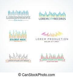 jogo, de, música, onda, logotipo, vetorial, elementos