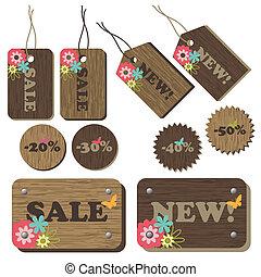 jogo, de, madeira, etiquetas, com, flores