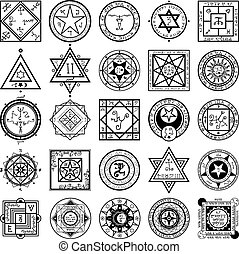 jogo, de, magia, e, alquimia, sigils, vectors