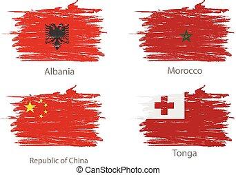 jogo, de, mancha, pintado, bandeiras, de, diferente, países