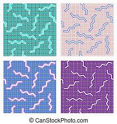 jogo, de, memphis, 80's, ziguezague, padrão, com, um, apoplexia, ligado, a, fundo, com, pontos