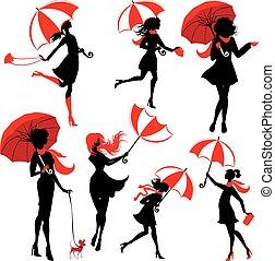 jogo, de, meninas, silhuetas, com, guarda-chuvas, isolado, branco, fundo, outono, estação