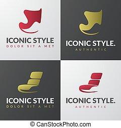 jogo, de, mobília, logotipo, templates., modernos, poltrona,...