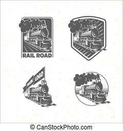 jogo, de, modelos, com, um, locomotive., vindima, trem, logotypes, illustrations.