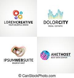 jogo, de, modernos, coloridos, abstratos, criativo, teia, anfitrião, dados, logotipo, emblema, vetorial, projete elementos