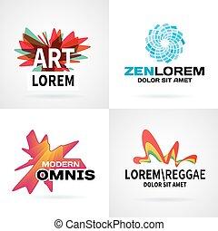 jogo, de, modernos, coloridos, abstratos, logotipo, emblema, vetorial, projete elementos