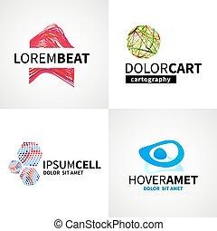 jogo, de, modernos, coloridos, abstratos, música, célula, logotipo, emblema, vetorial, projete elementos