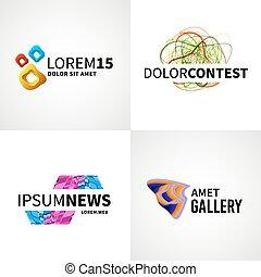 jogo, de, modernos, coloridos, abstratos, notícia, teia, competição, galeria, logotipo, emblema, vetorial, projete elementos