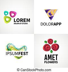 jogo, de, modernos, criativo, coloridos, abstratos, flor, fest, estúdio, logotipo, emblema, vetorial, projete elementos