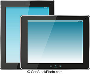 jogo, de, modernos, tablete digital, pc., isolado, branco